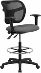 Mid-Back Gray Mesh Drafting Chair with Adjustable Arms [WL-A7671SYG-GY-AD-GG]