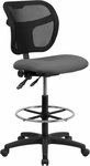 Mid-Back Gray Mesh Drafting Chair [WL-A7671SYG-GY-D-GG]