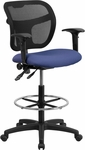 Mid-Back Navy Blue Mesh Drafting Chair with Adjustable Arms [WL-A7671SYG-NVY-AD-GG]