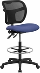 Mid-Back Navy Blue Mesh Drafting Chair [WL-A7671SYG-NVY-D-GG]
