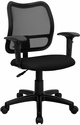 Mid-Back Black Mesh Swivel Task Chair with Adjustable Arms