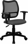 Mid-Back Gray Mesh Swivel Task Chair with Adjustable Arms [WL-A277-GY-A-GG]