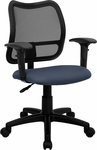 Mid-Back Navy Blue Mesh Swivel Task Chair with Adjustable Arms [WL-A277-NVY-A-GG]