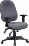 Mid-Back Multifunction Gray Fabric Executive Swivel Chair with Adjustable Arms [BT-662-GY-GG]
