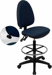 Mid-Back Navy Blue Fabric Multifunction Drafting Chair with Adjustable Lumbar Support [WL-A654MG-NVY-D-GG]