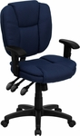 Mid-Back Navy Blue Fabric Multifunction Ergonomic Swivel Task Chair with Adjustable Arms [GO-930F-NVY-ARMS-GG]