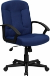 Mid-Back Navy Fabric Executive Swivel Chair with Nylon Arms [GO-ST-6-NVY-GG]