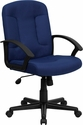 Mid-Back Navy Fabric Executive Swivel Chair with Nylon Arms