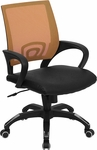 Mid-Back Orange Mesh Swivel Task Chair with Black Leather Seat and Arms [CP-B176A01-ORANGE-GG]