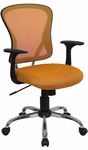 Mid-Back Orange Mesh Swivel Task Chair with Chrome Base and Arms [H-8369F-ORG-GG]