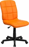 Mid-Back Orange Quilted Vinyl Swivel Task Chair [GO-1691-1-ORG-GG]