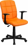 Mid-Back Orange Quilted Vinyl Swivel Task Chair with Arms [GO-1691-1-ORG-A-GG]