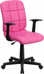 Mid-Back Pink Quilted Vinyl Swivel Task Chair with Arms [GO-1691-1-PINK-A-GG]