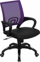 Mid-Back Purple Mesh Swivel Task Chair with Black Leather Seat and Arms