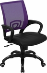 Mid-Back Purple Mesh Swivel Task Chair with Black Leather Seat and Arms [CP-B176A01-PURPLE-GG]