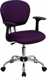 Mid-Back Purple Mesh Swivel Task Chair with Chrome Base and Arms [H-2376-F-PUR-ARMS-GG]