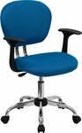 Mid-Back Turquoise Mesh Swivel Task Chair with Chrome Base and Arms [H-2376-F-TUR-ARMS-GG]