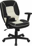 Mid-Back Black and Cream Vinyl Steno Executive Swivel Chair with Adjustable Arms [BT-2922-BK-GG]