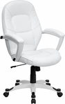 Mid-Back White Leather Executive Swivel Chair with Arms [QD-5058M-WHITE-GG]