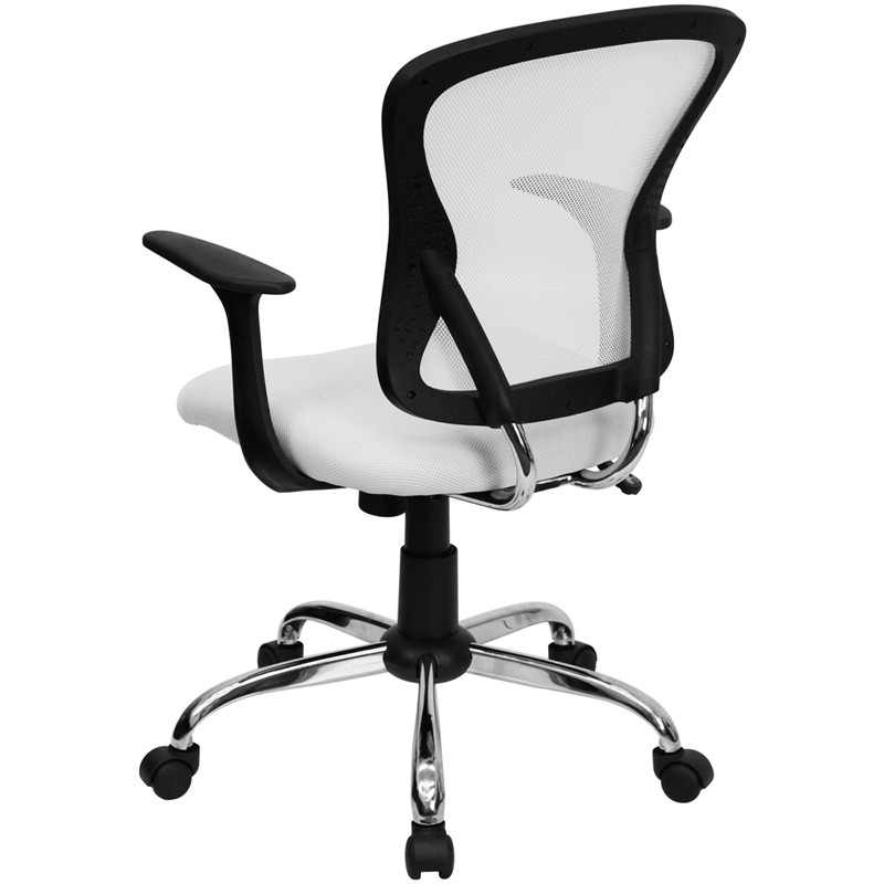 mid-back white mesh swivel task chair with chrome base and arms, h