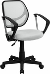 White Mesh Swivel Task Chair with Arms [WA-3074-WHT-A-GG]