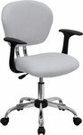 Mid-Back White Mesh Swivel Task Chair with Chrome Base and Arms [H-2376-F-WHT-ARMS-GG]