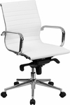 Mid-Back White Ribbed Leather Swivel Conference Chair with Knee-Tilt Control and Arms [BT-9826M-WH-GG]