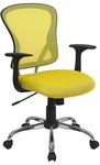 Mid-Back Yellow Mesh Swivel Task Chair with Chrome Base and Arms [H-8369F-YEL-GG]