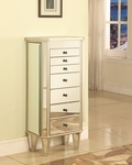 Mirrored Jewelry Armoire with Silver Wood [233-314-FS-PO]