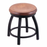Misha 18'' Black Wrinkle Finish Swivel Stool with Medium Maple Wood Seat [80218BWMEDMPL-FS-HOB]