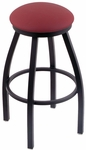 Misha 25'' Black Wrinkle Finish Swivel Counter Height Stool with Gr 1 Allante Wine Vinyl Seat [80225BWALWINE-FS-HOB]