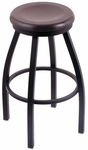 Misha 25'' Black Wrinkle Finish Swivel Counter Height Stool with Dark Cherry Maple Wood Seat [80225BWDCMPL-FS-HOB]