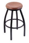 Misha 25'' Black Wrinkle Finish Swivel Counter Height Stool with Medium Oak Wood Seat [80225BWMEDOAK-FS-HOB]