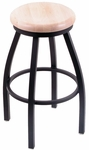 Misha 25'' Black Wrinkle Finish Swivel Counter Height Stool with Natural Maple Wood Seat [80225BWNATMPL-FS-HOB]