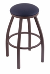Misha 25'' Bronze Finish Swivel Counter Height Stool with Gr 1 Allante Dark Blue Vinyl Seat [80225BZALDKBL-FS-HOB]