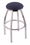 Misha 30'' Chrome Finish Swivel Barstool with Gr 1 Allante Dark Blue Vinyl Seat [80230CHALDKBL-FS-HOB]