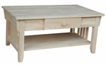 Mission Solid Parawood 22''W X 18''H Coffee Table with Drawer and Display Storage Shelf - Unfinished [OT-61C-FS-WHT]