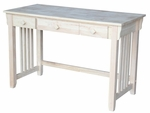 Mission Solid Parawood 22''W X 31''H Home Office Computer Desk with 2 Drawers - Unfinished [OF-45D-FS-WHT]