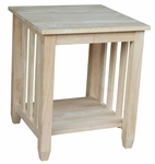 Mission Solid Parawood 21''W X 25''H Tall End Table with Storage Display - Unfinished [BJ6TE-FS-WHT]