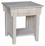 Mission Solid Parawood 22''W X 18''H End Table with Drawer and Display Storage Shelf - Unfinished [OT-61E-FS-WHT]