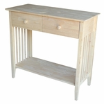 Mission Solid Parawood 38''W X 35''H Server Table with 2 Drawers and Storage Shelf - Unfinished [SV-31-FS-WHT]