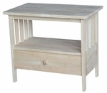Mission Solid Parawood 18''W X 24''H TV Stand with Drawer - Unfinished [TV-28-FS-WHT]