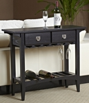 Favorite Finds 36''W x 30''H Mission Style Wine Table with Two Storage Drawers and Stemware Channels - Slate Black [9061-SL-FS-LCK]