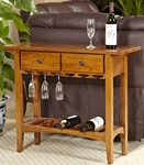 Favorite Finds 36''W x 30''H Mission Style Wine Table with Two Storage Drawers and Stemware Channels - Russet [9061-RS-FS-LCK]