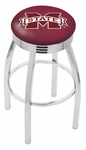 Mississippi State University 25'' Chrome Finish Swivel Backless Counter Height Stool with 2.5'' Ribbed Accent Ring [L8C3C25MSSSTU-FS-HOB]