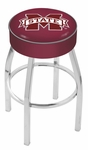 Mississippi State University 25'' Chrome Finish Swivel Backless Counter Height Stool with 4'' Thick Seat [L8C125MSSSTU-FS-HOB]