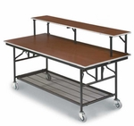 Mobile Bar/Buffet Table with Sealed Walnut Stain Plywood Top - 30''W x 72''L x 30''H [MB306E-MFT]