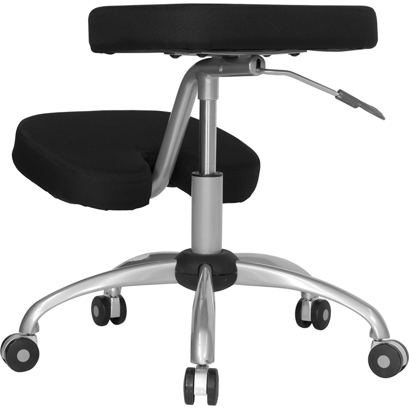 mobile ergonomic kneeling chair with silver frame in black fabric
