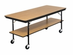 Stained and Sealed Plywood Mobile Utility Table - 30''W x 72''D x 30''H [BT306P-AMTB]