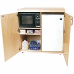 Mobile Food Cart with Easy Movement Casters and Multiple Storage Compartments - Assembled - 42''W x 26''D x 42''H [18200-WDD]